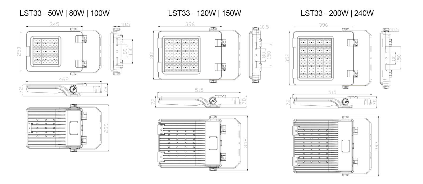 Premium LED flood light sizes